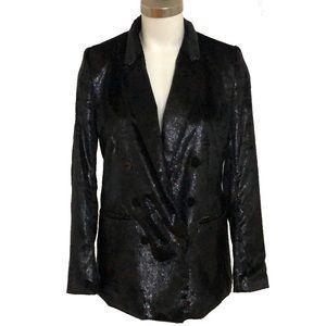 H&M Sparkle Textured Black Blazer Jackey